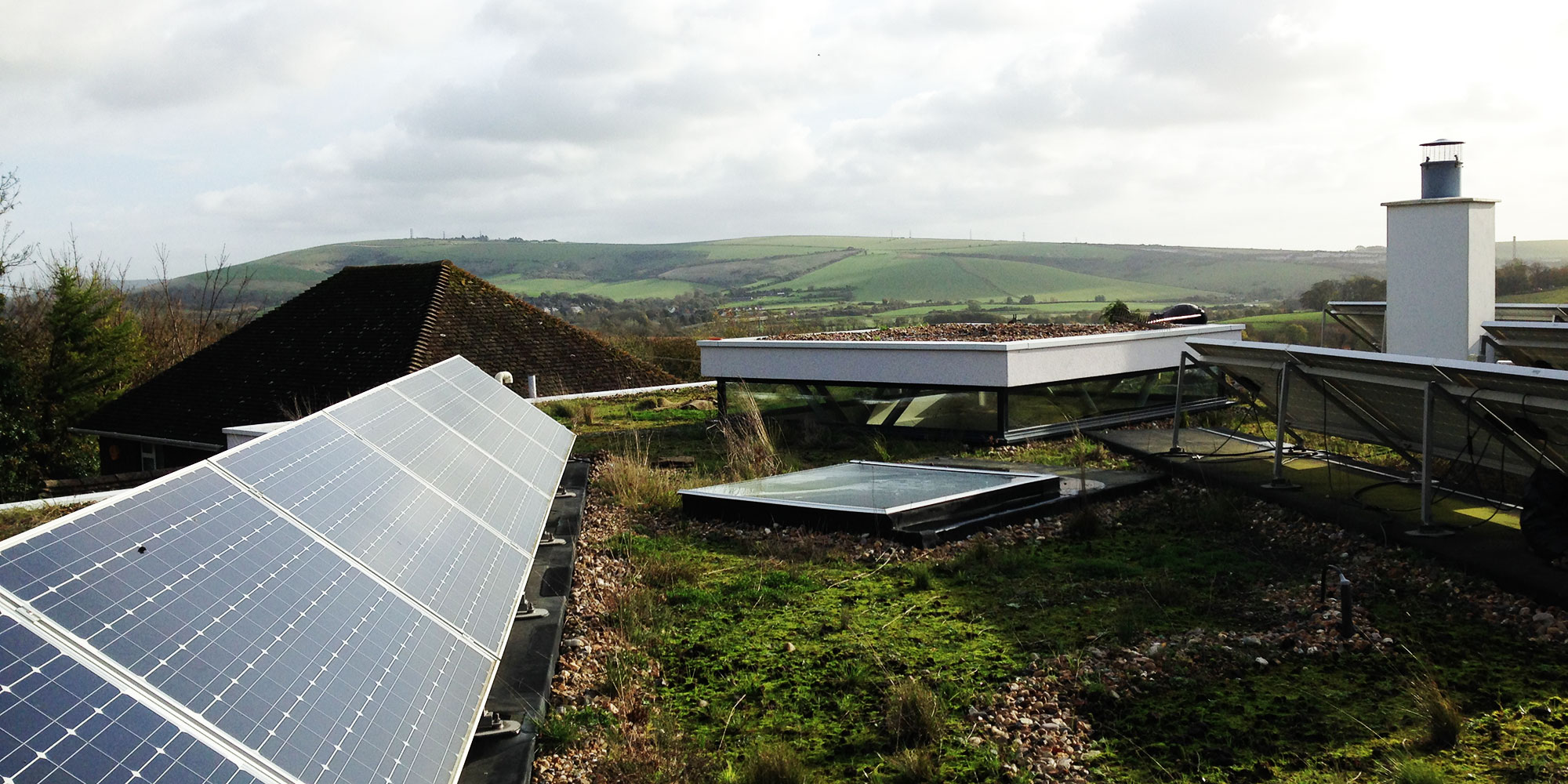 Example of a solar integration on a green roof by Organic Roofs