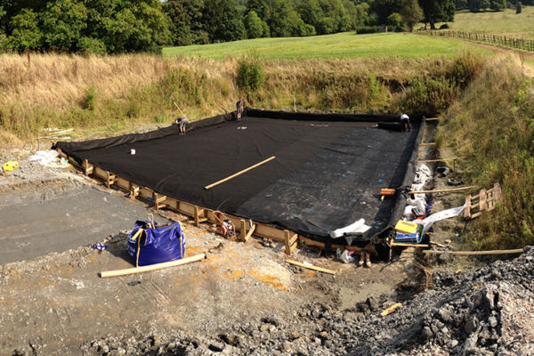 developing the foundations for a buried helicopter hangar green roof installation