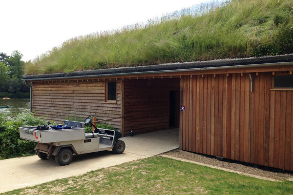Pitched roof of Boathouse at Avon Tyrell – New Forest by Organic Roofs