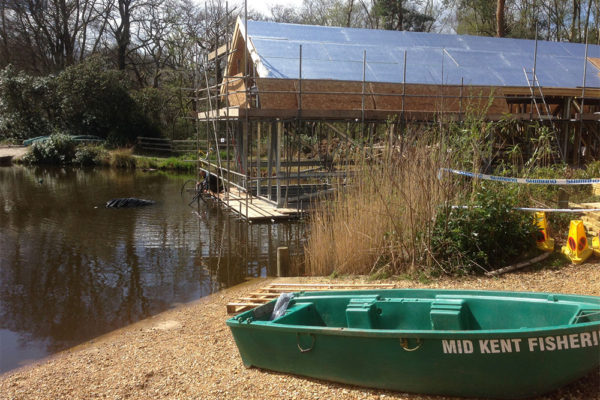the roof being built for a boat house green roof in Avon Tyrrell