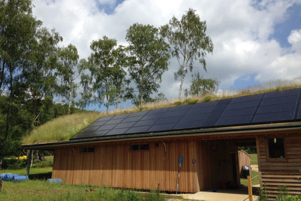 solar panel installation for a green roof in Avon Tyrrell
