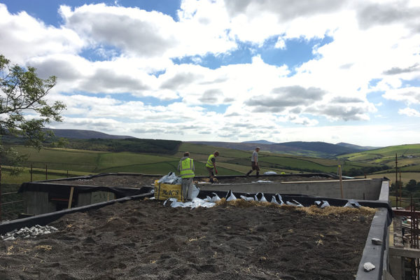 the team installing a haybase green roof in Scotland
