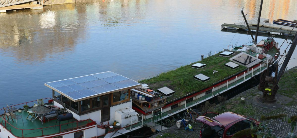 Green Roof On House Boat In Bristol Harbour Lightweight